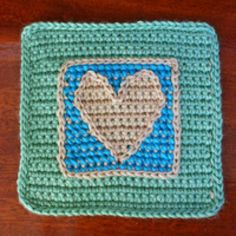 Create Your Own Customized Afghan with These Free Crochet Patterns: Nested Squares With Cross-Stitched Heart Design