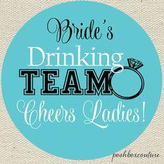 Bachelorette Party Waterproof Stickers, Bride's Drinking Team