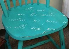 French script chair painted with Turquoise Toulouse Farmhouse Paint. Ceiling Murals, Wall Murals, Furniture Makeover, Furniture Ideas, Seasonal Image, French Script, Painted Rug, Floor Cloth, Painting Furniture