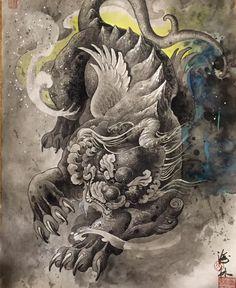 japanese with tattoos Foo Dog Tattoo, Lion Tattoo, Tattoo Drawings, Body Art Tattoos, Tattoo Ink, Yakuza Tattoo, Japanese Foo Dog, Fu Dog, Asian Tattoos