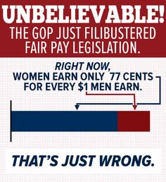 Breaking! GOP filibustered the Fair Pay Act.  And they say there's no war on women? They lie.