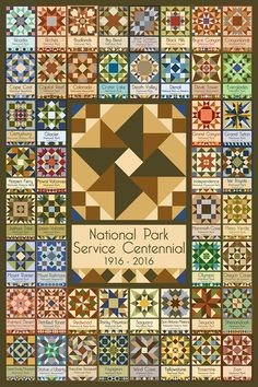 """This quilt block was created specifically for the 2016 National Park Service Centennial. It contains 48 original quilt block designs for different National Park locations. This 8x12"""" quilt block and free downloadable pattern are available at americanquiltblocks.com."""