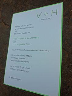 Modern Initial Wedding Invitation - Mint Green and White. $4.00, via Etsy.