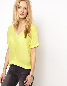 The Kooples Sport Silk Shell Top in Acid Yellow at ASOS. The Kooples Sport, Shell Tops, Asos, Fashion Looks, V Neck, Silk, Yellow, Sports, T Shirt