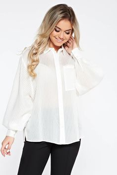 StarShinerS white casual flared women`s shirt with puffed sleeves transparent chiffon fabric Product Label, White Casual, S Shirt, Chiffon Fabric, Ruffle Blouse, Classy, Puffed Sleeves, Glamour, Chic