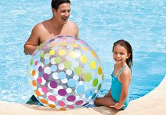 Intex Jumbo Inflatable Colorful Polka Dot Giant Beach Ball Set of 2  59065EP *** Check out the image by visiting the link. (This is an affiliate link) #InterestingPoolGames