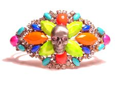 One of a Kind Neon Hand Painted Vintage Rhinestone by PureEssentia, $140.00