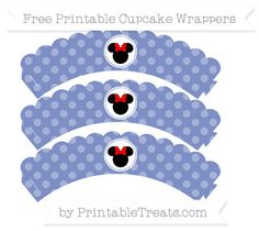 Free Pastel Dark Blue Dotted Pattern Minnie Mouse Scalloped Cupcake Wrappers