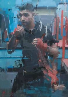 Christian Hook's sky arts portrait artist of the year 2014 commission of Amir Khan