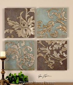 St/4 Damask Relief Blocks Wall Plaques Hand Painted Oils