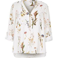 Cream floral print zip-up blouse