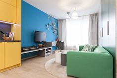 For TV show Jak se staví sen we have realized small flat in the twelveth episode. Colorful Decor, Prague, Corner Desk, Curtains, Living Room, Interior, Furniture, Home Decor, Comic