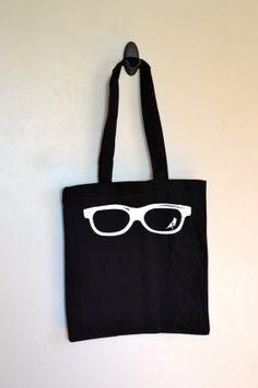 Glasses Screen Printed Black Cotton Canvas Tote Bag