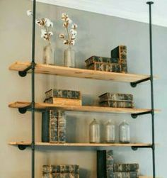 diy open pipe shelving industrial magnolia homes and magnolia farms. Black Bedroom Furniture Sets. Home Design Ideas