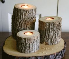 Tree Branch Candle holder set  #rustic #wood