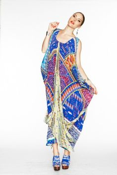 another wonderful design by Camilla, this kaftan is a riot of colour and so much fun to wear