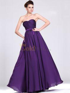 [US$167.97] A Line Floor Length Satin Chiffon Evening Dress with Detachable Floral Straps