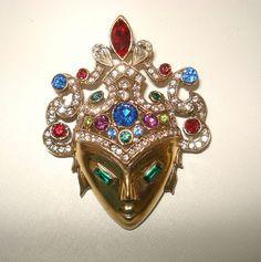 Leo Glass Ann Glass Art Deco Brunialti Book Piece Mask PIN 1940's | eBay