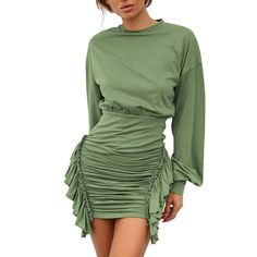 Alixyz Women O-Neck Solid Color Splice Ruffle High Waist Ruched Long Sleeve Slim Bodycon Mini Dress Club Dresses, Short Dresses, Mini Dresses, Batwing Sleeve, Long Sleeve, Ruffle Shirt, Short Mini Dress, Sweater Outfits, Green Dress