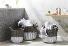 The Wicker Hamper White Paint Base range is great for many uses throughout the home. Featuring a white base, rope handles and available in three sizes, these stylish baskets will complement any style. Wicker Hamper, Bed & Bath, White Paints, Storage Baskets, Bathroom Accessories, Decorating Your Home, Base, Home Decor, Style Challenge
