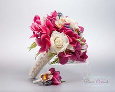 Beach Silk Wedding Bouquet Boutonniere Set. Cream White Ivory
