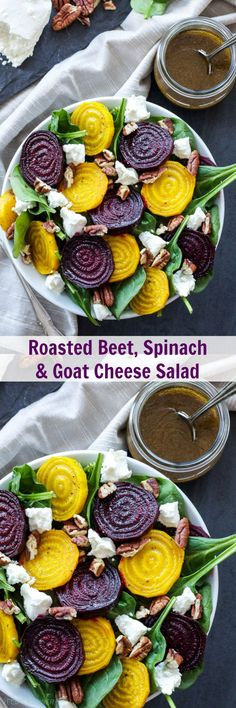 Roasted Beet, Spinach and Goat Cheese Salad Think you don't like beets? This amazing roasted beet salad will change your mind! Veggie Recipes, Vegetarian Recipes, Cooking Recipes, Healthy Recipes, Beet Salad Recipes, Roast Recipes, Smoothie Recipes, Spinach Goat Cheese Salad, Baby Spinach