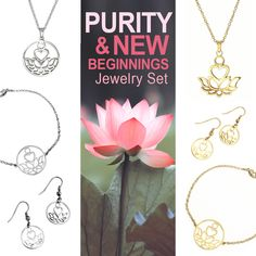 Complete Purity & New Beginnings Set (Gold + Silver) Chain Earrings, Stainless Steel Chain, New Beginnings, Jewelry Sets, Delicate, Pendant Necklace, Silver, Gold