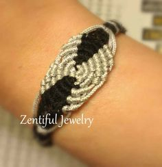 Bracelet (5.5) for small wrist macrame black silver beach chic button closure. One Available.  $18.00 USD. Bracelets for small thin dainty petite wrists / Ethnic Bracelet / Macrame Bracelet / Boho Bracelet / Micromacrame Bracelet / Bohemian Bracelets / Hippie Bracelet / Minimalist Bracelet / Cottage Chic Bracelet / Dainty Bracelet / Simple Bracelet / Unique Bracelet / Special Bracelet / Zentiful Jewelry / Jewelry / Beach Jewelry / Women Jewelry