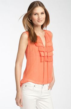 Ruffled Tangelo Casual Party Top
