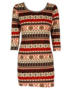 Red Fair Isle Print Cropped Sleeve Knit Dress- Christmas