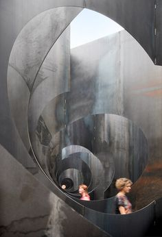 A kilometre of steel corridors are wound within this industrial-looking maze at a former coal mine by Belgian studio Gijs Van Vaerenbergh