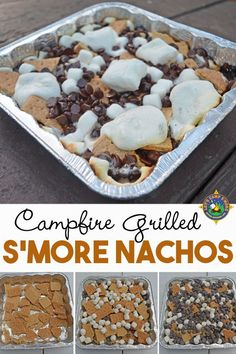 Campfire S'mores Nachos - Do you love s'mores? Make S'mores Nachos on the grill or over the campfire. This s'more casserole is the perfecting camping dessert recipe! food hacks S'mores Nachos Camping Recipe Made Over the Campfire Camping Desserts, Camping Appetizers, Potluck Desserts, Easy Desserts, Grill Dessert, Smores Dessert, Desserts On The Grill, Dessert Nachos, Delicious Desserts