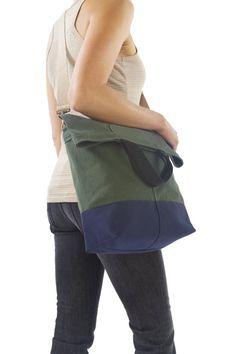 Dual purpose - bike pannier/shoulder bag.  Linus Sac - Waxed Canvas Bicycle Tote Bag. £44.99, via Etsy.