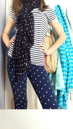 Navy and white poca dots