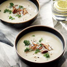 Cauliflower Soup with Shiitakes | CookingLight.com #myplate #veggies