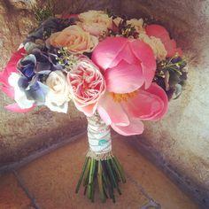 Boho style hand tied wedding bouquet