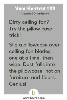 The clever way to clean a ceiling fan without getting dust all over the place. Want more cleaning tips and tricks like this? Click Now! Cleaning ideas for bedroom, bathroom, kitchen, laundry, cars and more. Household Cleaning Tips, Deep Cleaning Tips, Toilet Cleaning, Cleaning Recipes, House Cleaning Tips, Natural Cleaning Products, Cleaning Solutions, Cleaning Hacks, Household Cleaners