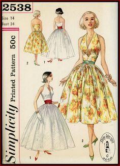 Simplicity 2538 - 1958 Vintage Sewing Patterns Simplicity Dresses Halter 1950s Full Skirts Gathers Evening Cummerbund Contrast Overskirts Belts Sleeveless V Neckline