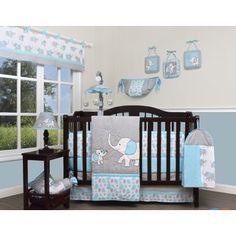 GEENNY Boutique Baby 13 Piece Nursery Crib Bedding Set Blizzard Blue Grey Eleph for sale online