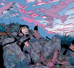 Nuke Em by Frank Stockton. Frank's illustrations are rendered with interesting angles and line work that evoke a chaotic energy and posses the prowess to provoke angst. So emotional and hauntingly energetic.