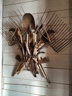 Eye catching rusty tool wall display Designed and made by P. Allen Smith