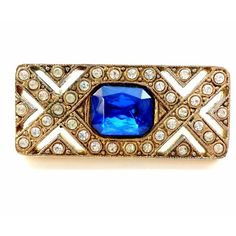Rhinestone Brooch Art Deco Style Sapphire Blue ($18) ❤ liked on Polyvore featuring jewelry and brooches