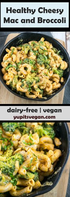 Gooey and delicious VEGAN cheesy mac and broccoli. Healthy dairy-free mac and cheese with potato carrot sauce, seasoned with black pepper and garlic. Recipe shared from Vegan Richa's Indian Kitchen. via @yupitsvegan