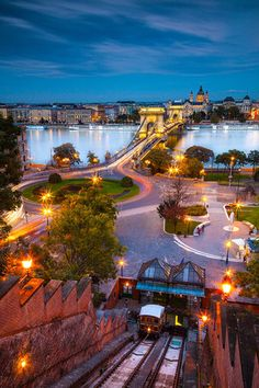 Budapest. The Funicular, the Danube, the Chain Bridge.