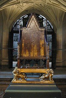King Edward's Chair , the throne on which English and British sovereigns have been seated at the moment of coronation, is housed within the abbey and has been used at every coronation since 1308. From 1301 to 1996 (except for a short time in 1950 when it was temporarily stolen by Scottish nationalists), the chair also housed the Stone of Scone upon which the kings of Scots are crowned. The Stone is now kept in  Scotland, in Edinburgh Castle.  Westminster Abbey - Wikipedia, the free…