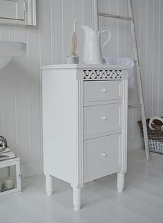 white free standing bathroon cabinet with drawers for storage from the white lighthouse new england - Bathroom Cabinets 30cm Wide