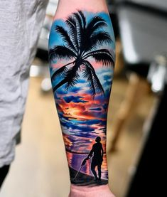 Tattoo artist Volkan Demirci - Top Of The World Do Pi Ke Hand Tattoos, Tropisches Tattoo, Ocean Sleeve Tattoos, Surf Tattoo, Best Sleeve Tattoos, Tattoo Sleeve Designs, Body Art Tattoos, Portrait Tattoos, Grey Tattoo