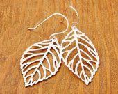 SILVER Leaf Earrings, filigree leaf, branch earrings, silver earrings, sterling silver, nature jewelry, holiday sale, black friday sale