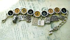A charm bracelet for the librarian/library lover.     bracelet features nine silver toned pewter book & literary themed charms: four book charms; both open & closed, a librarian, a library building, a library lion, a fashion magazine and a newspaper.