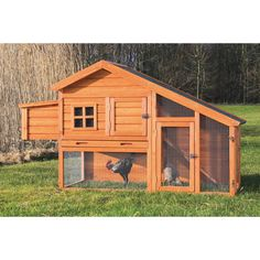 Chicken Coop with a view by TRIXIE - at Costco - pretty reasonable price (@ $239.99)  It says for 2 full size chickens or 4 bantoms.